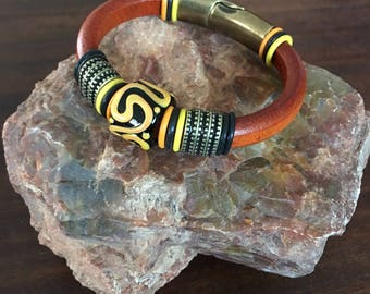 Handmade Regaliz Distressed Orange Leather Cuff Bracelet RM463
