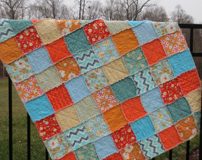 Handmade Reversible Rag Quilt  - Designer Riley Blake - Orange, Yellow, Blue - Modern Prints - Ready to Ship