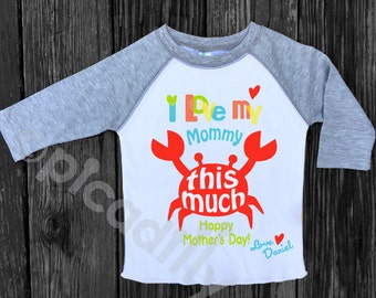 Personalized clothing for babies and kids by shoppicadilly on etsy toddler boy happy mothers day shirt personalized boys crab shirt happy mothers day gift from son negle Images