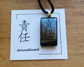 Commitment, Chinese Character fused glass necklace, Commitment Chinese necklace, Commitment necklace, Chinese characters, fused glass, CH150