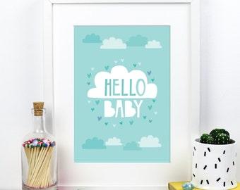 SALE Hello Baby Boy - Blue Cloud A4 print