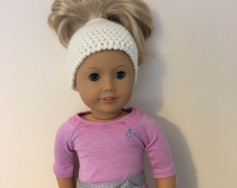 "Cream messy bun hat  - suitable for 18"" dolls. 18 inch doll, 18"" doll, doll hat (will fit American girl, Gotz precious day)"