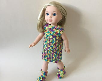 "Doll outfit. Hand crocheted dress & boots for 14.5"" doll such as American Girl Wellie Wishers"