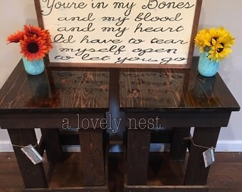 wood end table night stand farm rustic table hunting reclaimed