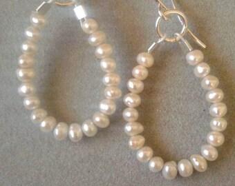 Sterling Silver Beaded White Seed Pearl Bridal Earrings, June Birthstone