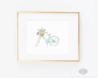 Bike Art Print, Floral Bike, Bike Print, Bike Watercolor, Floral Print, Floral Watercolor, Home Decor, Kitchen Art, Nursery Art, Girl Art