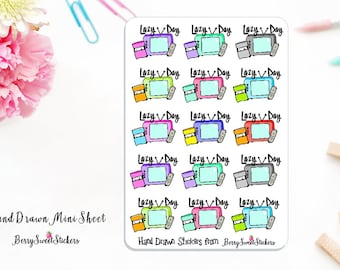 Lazy Day Planner Stickers, Hand Drawn Stickers, Used with Erin Condren, Happy Planner, Personal Planner Stickers, Lazy Day Planner Stickers