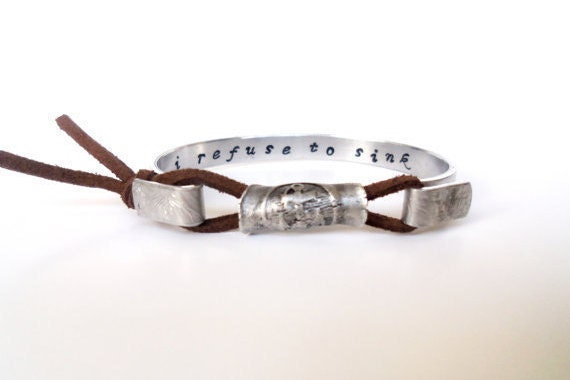I refuse to sink Medallion Cuff Bracelet, Inspirational Secret Message, Affirmation Jewelry, Manta Cuff Bracelet, Custom, Personalized