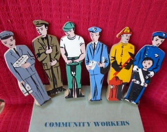 Vintage Guidecraft Community Workers Set 6 Figures With Original Box