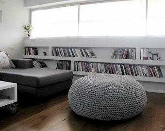 Giant Ottoman-Round Pouf-Giant Bean Bag Chair-Floor Pouf-Large Grey Floor Pillow-Knit Pouf-Floor Chair-Large Floor Cushion-Crochet Pouf