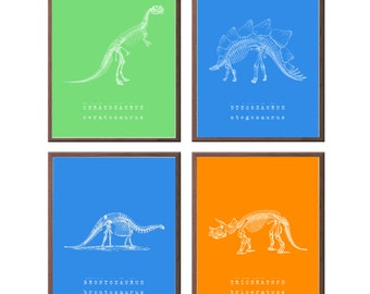 Christmas gifts for kids, Dinosaur prints, children's wall art, educational gifts, set of four prints