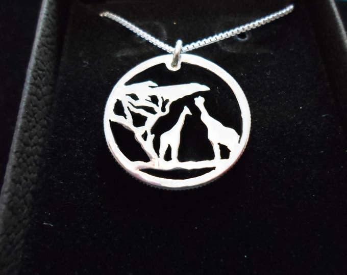 giraffe quarter size w/sterling silver chain