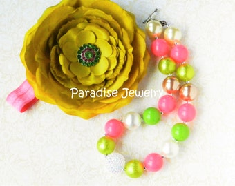 Flower Fascinator Headband Accessories Set, Pink and Green, Chunky Bead Necklace Set, Peony Flower, Headband Set, Baby Girl
