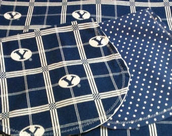 BYU with Poke Dot Backing Hemstitched Baby Blanket and Burps ready for you to crochet by Lindas Hemstitching