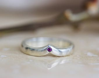 SAMPLE SALE Ready to Ship One of a Kind Rhodolite Garnet Chevron in Sterling Size 5.75