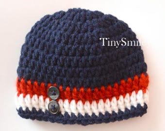 Newborn Crochet Hat, Baby Boy Hat, Havy, Navy Boy Hat, Baby Hats Boys, Striped Baby Hat, Navy, Red, White, Button Baby Hat, Newborn Boy
