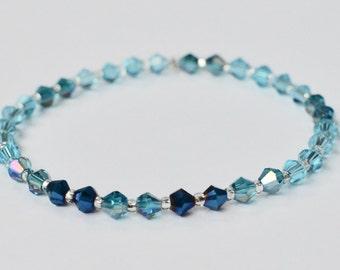 Swarovski Stretch Bracelet, Sparkly Jewelry, Blue Stackable Bracelet, Arm Candy, Boho Beaded Bracelet, Bridesmaid Gift, Gift for Her