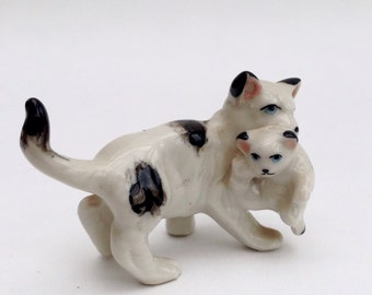 Reduced price: Mother Cat and Kitten, Miniature, Black and White