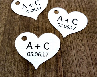 """Custom Wedding Favor Tags - Heart Tags - 50 Count - Initial and Date Tags - 1.5"""" x 1.25""""  Heart - Personalized Tag - Custom Wedding Tags WT7"""