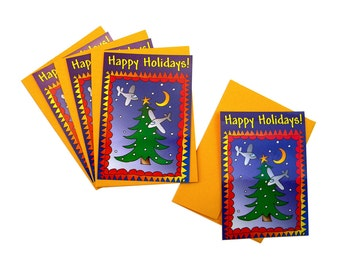 Happy Holidays Postcards, Set of Four with Envelopes, Full Color Glossy Finish, Stylized Christmas Tree with Planes
