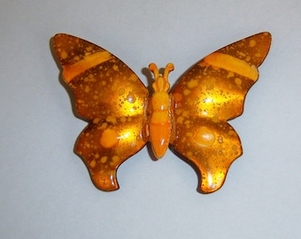 Signed Butterfly Pin. Orange Butterfly Brooch. Made In Germany Butterfly. German Figural Jewelry.