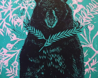 Big King Bear and Hawthorn,lino block print