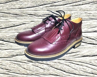 Purple Leather shoes, Female Oxfords, women oxford shoes, womens leather footwear, flat shoes
