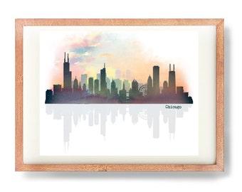 Chicago Skyline, Chitown, Skyline Art, Chicago Art Print, Chicago Poster, Watercolor Chicago Skyline, Cosmic Skyline Print, City, Urban