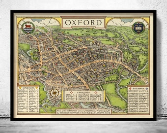 Old Map of Oxford England United Kingdom