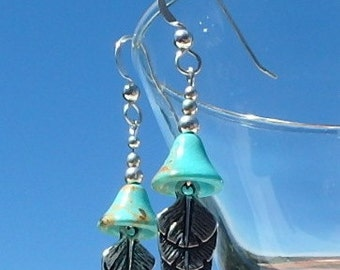 Genuine turquoise bell earrings with owl feather drop on sterling silver earwires