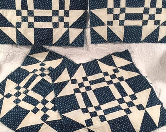 4 large indigo blue and white quilt blocks
