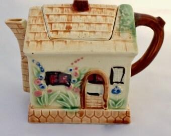 Vintage Cottage Shaped Ceramic Tea Pot/ Made in Japan