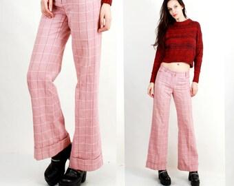 70s Plaid Pants / Disco Pants / Bell Bottom Pants / Hippie Pants /  Flared Pants / Soul Train