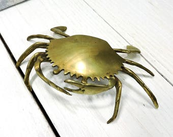 Brass Crab Container Fiddler Crab Box Hinged Lidded Box Beachy Nautical Home Decor Cone Incense Burner Ring Holder Crab Ashtray