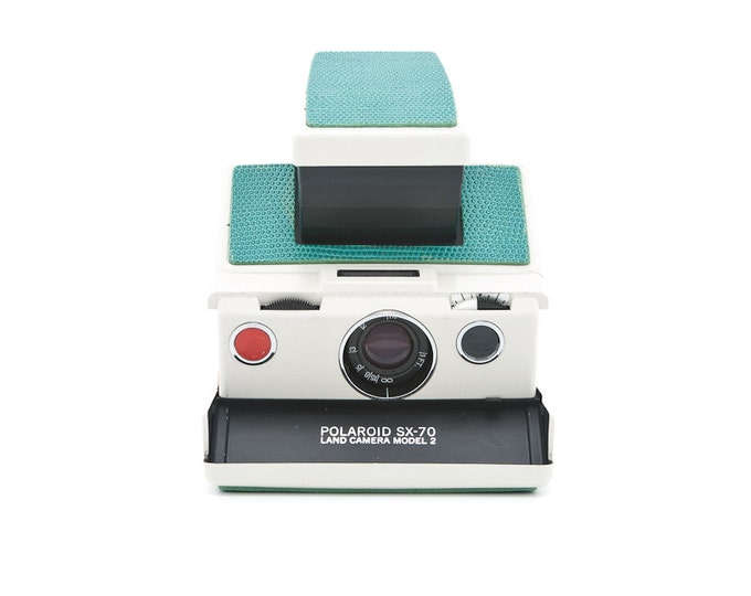 Featured listing image: Polaroid SX-70 Land Camera Model 2 - Avery Plastic Body - New Green Leather Covering - Guaranteed Working uses Impossible Project Film