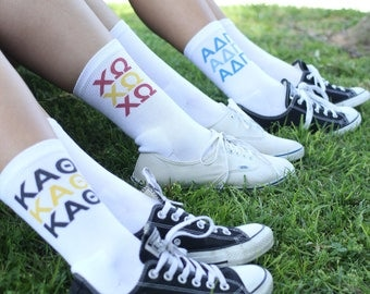 Sorority Letters 3 Times in Sorority Colors - Kappa Alpha Theta, Chi Omega and Alpha Delta Pi Shown, White Crew Socks Sold by the Pair
