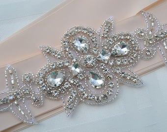 Wedding Bridal -Sash Belt -Bridesmaids Sash-  Crystal Rhinestone Beaded Appliqué -Blush  Belt