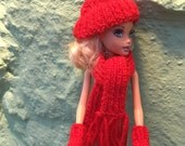 Sindy / Barbie hand knitted mitts, scarf hat various colours made to order