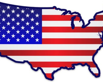 Usa Flag Map Etsy - Us map flag