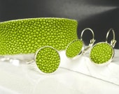 Greenery jewelry set: stingray leather cuff bracelet, earrings, and ring. Gift for Mother's Day, and for your bridesmaids