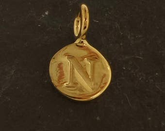 Gold on sterling silver round letter charm N, gold initial N charm,  stamped gold letter charm  , N gold vermeil initial charm
