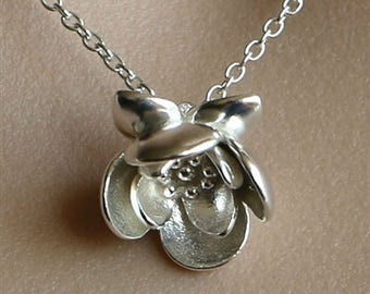 3D LOTUS sterling silver pendant , solid silver lotus flower pendant silver waterlily pendant