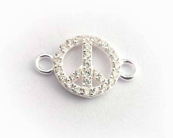 sterling silver PEACE symbol connector 29 zirconias sterling peace symbol solid silver peace symbol connector silver peace sign with 2 loops