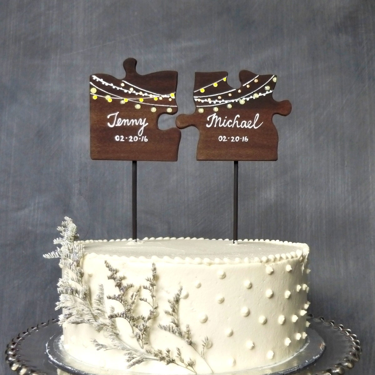 Wooden Wedding Cake Topper Puzzle Pieces Mr Mrs