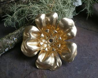 Raw Brass Stamping Large Flower