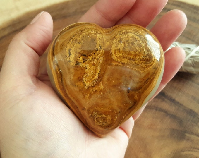 Pakistani Onyx Heart ~ One Reiki Infused gemstone heart approx 3 x 3 inches (PH17)