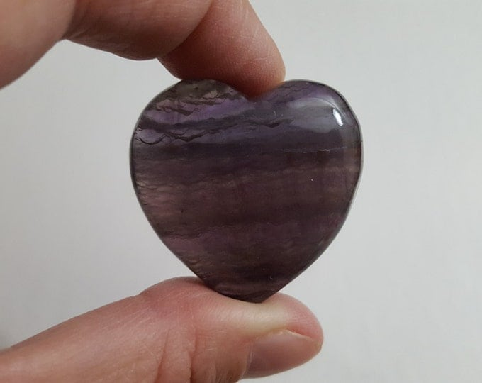 Rainbow Fluorite Heart ~ One 35x35mm Reiki infused gemstone heart (FLH02)