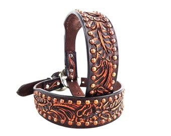 MadcoW Western Style Antiqued Floral Tooling Canine Leather Dog Collar HandMade Fully Adjustable