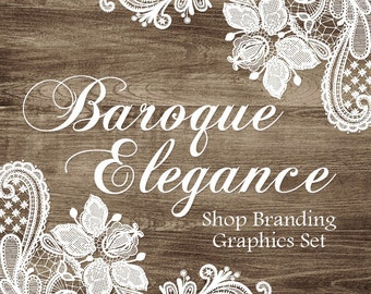 Lace Wood Shop Branding Banners, Avatar Icons, Business Card, Logo Label + More - 13 Premade Graphics Files - BAROQUE ELEGANCE