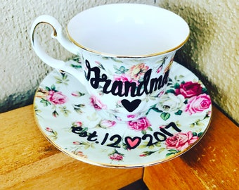You're Going to Be a Grandpa/Uncle/Aunt/Grandma/Daddy -Birth Announcement - teacup and saucer set- pregnancy reveal surprise
